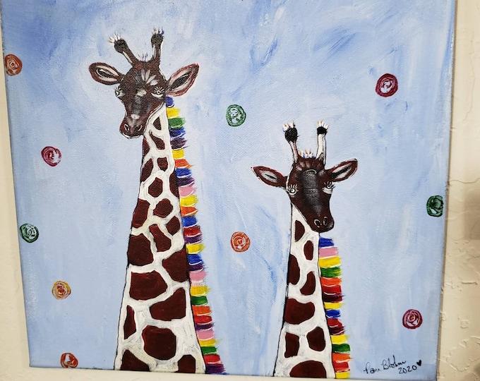 "Abstract Giraffes ""Quite the Pair"" - 12x12 Original Acrylic painting  -Zoo Themed  Nursery decor-Kids room art-zoo animals- Giraffe Lovers"