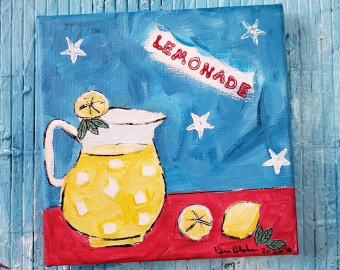 "Small art canvas ""Lemonade"" acrylic painting. 6x6 kitchen fun / Summertime inspiration"
