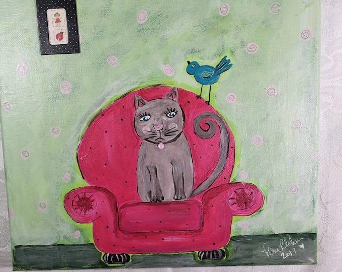 "Original Acrylic Painting  ""Maxine the Cat "" - 12x12 canvas wall art-Cat in Chair art - bedroom art-bathroom CAT art/ Cat lover gift"