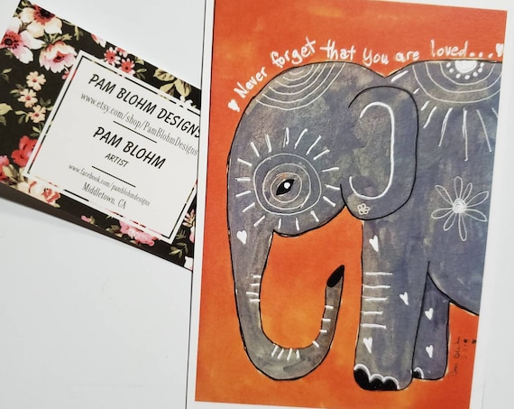 "Art MAGNET "" Never forget you are loved"" words of encouragement /elephant art /gift idea / made in USA / small art"