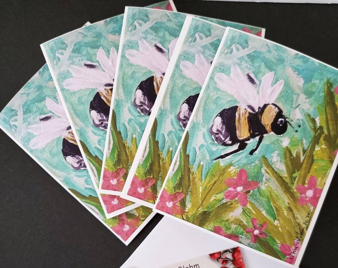 """Bee Note Cards """"Bee-utiful""""  Gift Packaged set of 5-  gardener gift idea-Printed in the USA- From Pam Blohm Original Painting- blank inside"""