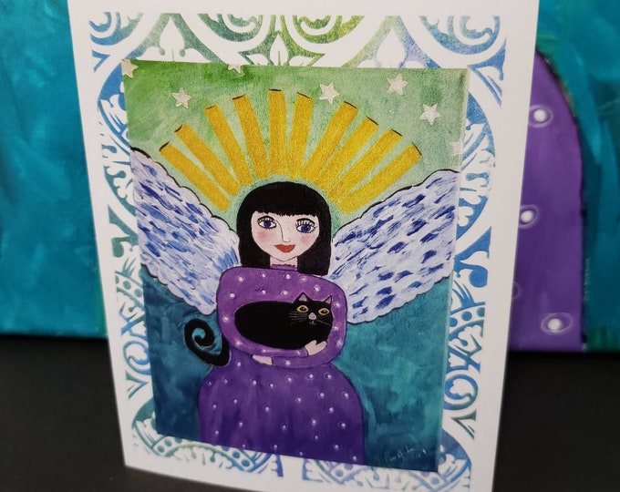"""Blank note cards / """"Angel & her black cat"""" set of 5 gift packaged/ Artist Pam Blohm /Angel greetings /Printed in the USA"""