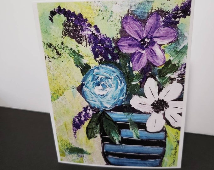 """Artist Note Cards / """"Pretty Flowers"""" /set of 5 gift packaged/ Gardener gift idea / Printed in the USA"""