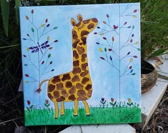 "Zoo Theme  ""Bongo's Playtime"" /12x12 Giraffe art / Childs room art/ nursery decor/wall art/ Original acrylic painting"