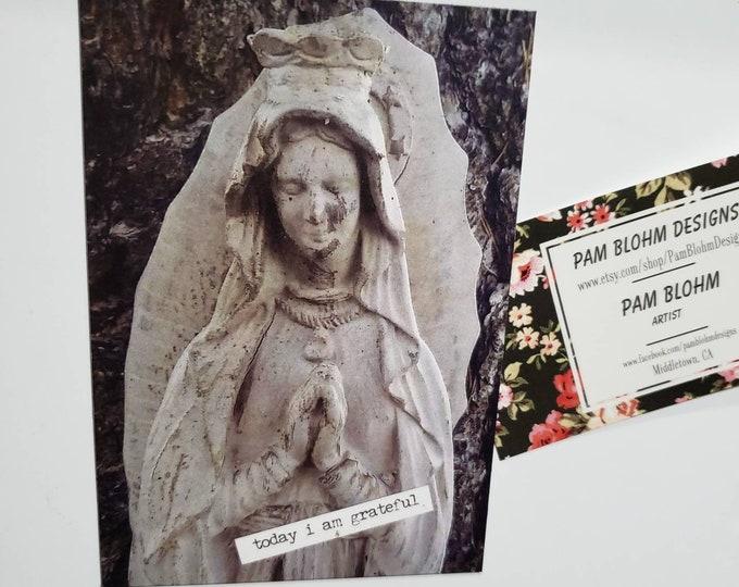 "Art MAGNET ""Today I am grateful ""  / Praying Angel Gift idea/ Gratitude and encouragement word art  / Small art gift / faith art"