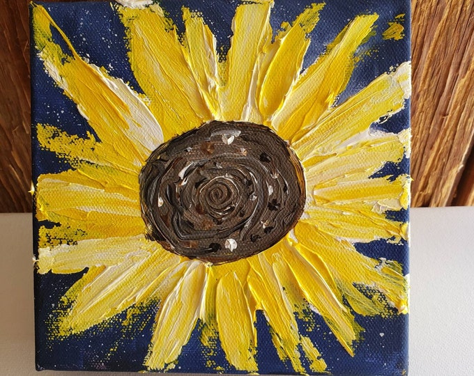 """Original """"Big Texas Sunflower"""" -  6x6 Acrylic painting on Deep gallery wrapped canvas- Stand Alone Shelf or Mantle artwork"""