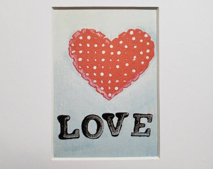 """Small Artist Prints """"LOVE Heart""""  - 5x7 Matted in Black OR White - From Original Painting"""