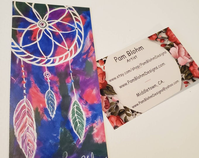 """Art MAGNET - """"Three Feathers """" Dream Catcher - 2.25""""x 4.75"""" flexible strong hold -gift idea -Stocking Stuffer made in USA"""