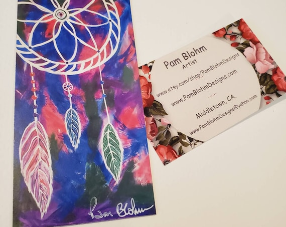 """Art MAGNET / """"Three Feathers """" Dream Catcher / 2.25""""x 4.75"""" flexible strong hold /gift idea /Stocking Stuffer made in USA"""