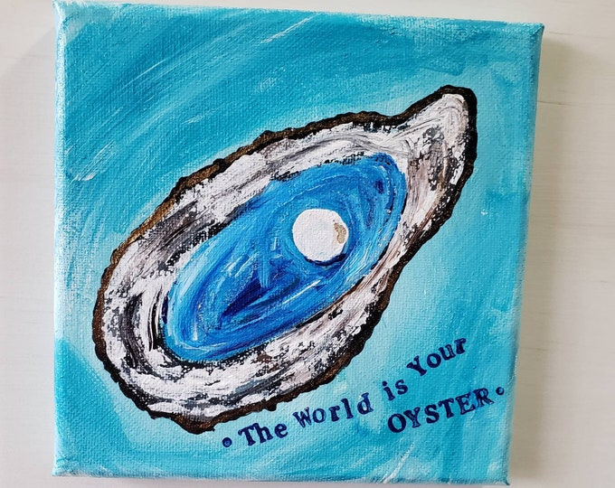 "Original Oyster Acrylic Painting  ""A pretty Pearl "" -6x6 Small art home decor -Seashells"