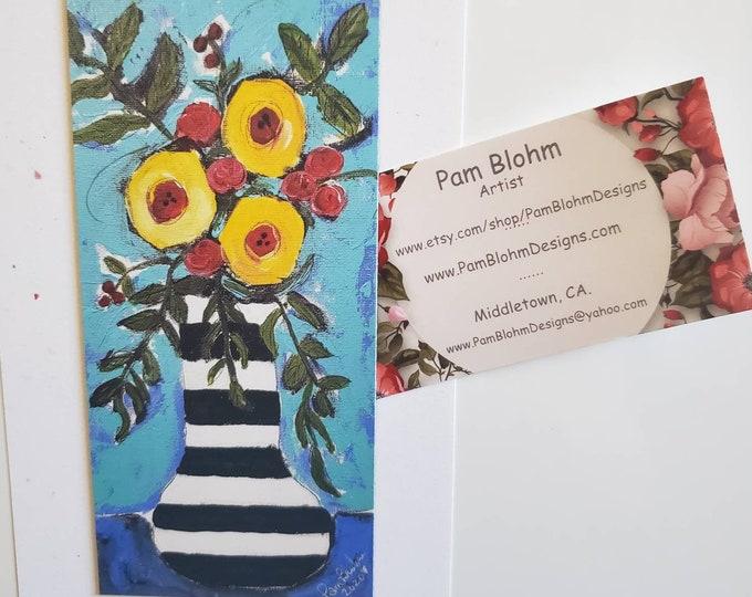 "Artist MAGNET small art ""FLOWERS"" - Kitchen and Metal Surface Decor Art-small Gift Idea Under 10"