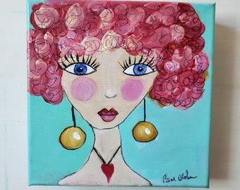 "6x6 Original Whimsical- Pink Hair Girl Art / Abstract Acrylic Painting ""Gina"" / fun wall art"