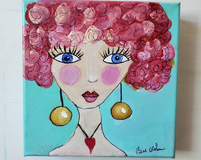 "6x6 Original Whimsical- Pink Hair Girl Art / Abstract Acrylic Painting ""Gina"" - fun wall art"