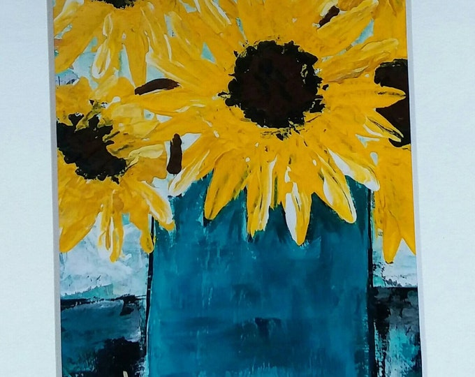 """Photograph """"Sunflower Bouquet """"  5x7 white matted. Wall art /home or office decor print"""