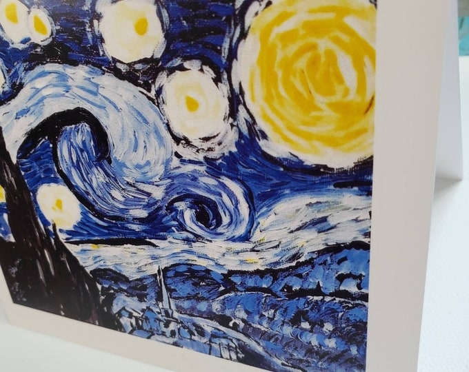 """Starry Night Blank notecard set  /  """" Tribute to Vincent VanGogh"""" / set of 5 Artist cards"""