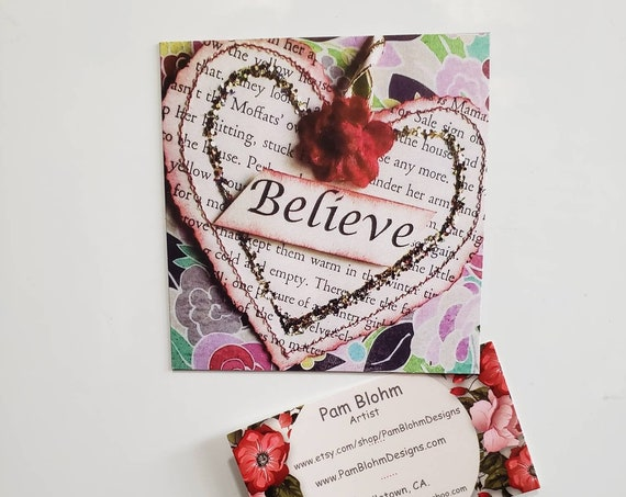"Art MAGNET ""Believe "" Heart Art  . Metal surface small art /  kitchen decor / Words of ENCOURAGEMENT / Made in USA"