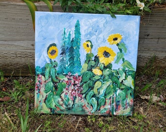 "One of a kind ""Sunflowers and Hollyhocks "" / Acrylic painting/ Garden theme wall art /flower home decor /outside floral artwork / Gardener."