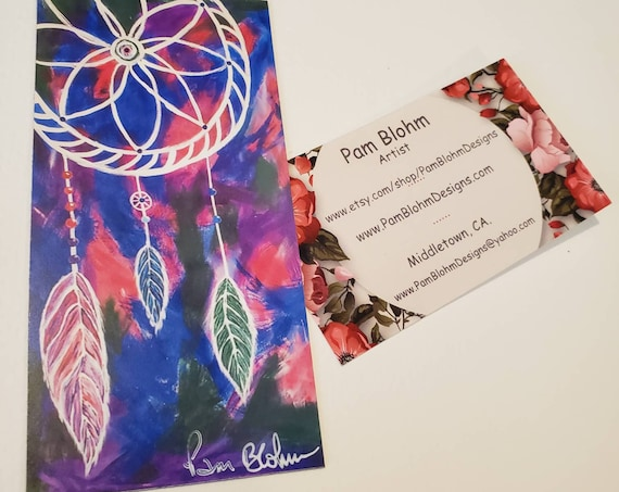"Art MAGNET / ""Three Feathers "" Dream Catcher / 2.25""x 4.75"" flexible strong hold /gift idea /Stocking Stuffer made in USA"
