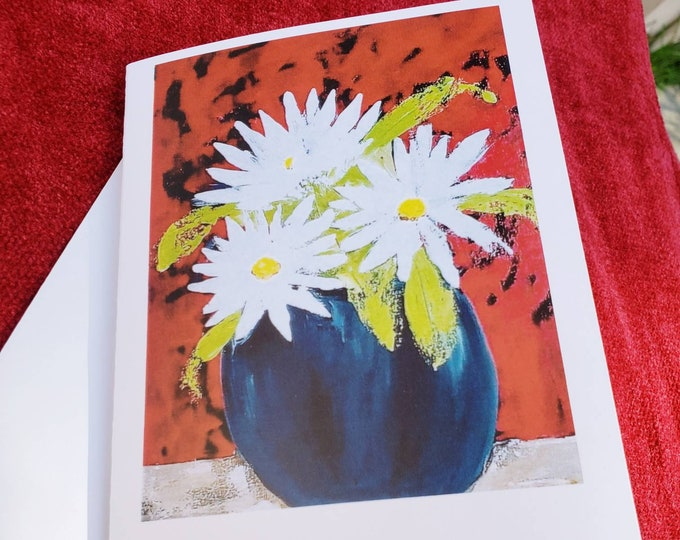 White Daisies -Artist Flower Note cards gift set -5 blank cards & envelopes - from artist original painting
