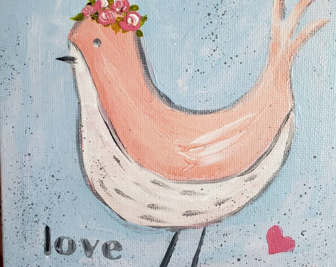 """5x5 """"Love Bird"""" original acrylic painting- Peach and White small art. whimsical bird with Pink flowers in her hair- Unframed Canvas Panel"""