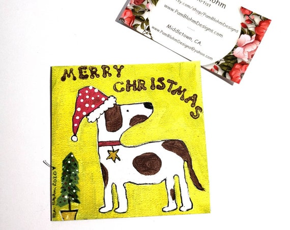 "Art MAGNET  ""Merry Christmas""  Santa Dog / created from original Pam Blohm artwork / Stocking Stuffer for DOG LOVERS /  kitchen small art"