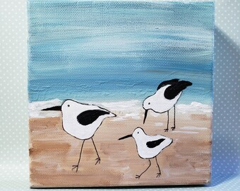"Original acrylic painting/ ""3 Birds on the Beach"" / 6x6  canvas art/ Bathroom or Bedroom Artwork / Ocean Painting"