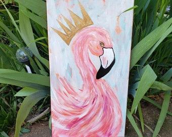 "Original  "" The Beauty Queen "" / Pink Flamingo wall art / 10x20  Zoo Theme Nursery Decor/ crown wall art / Pink home decor"