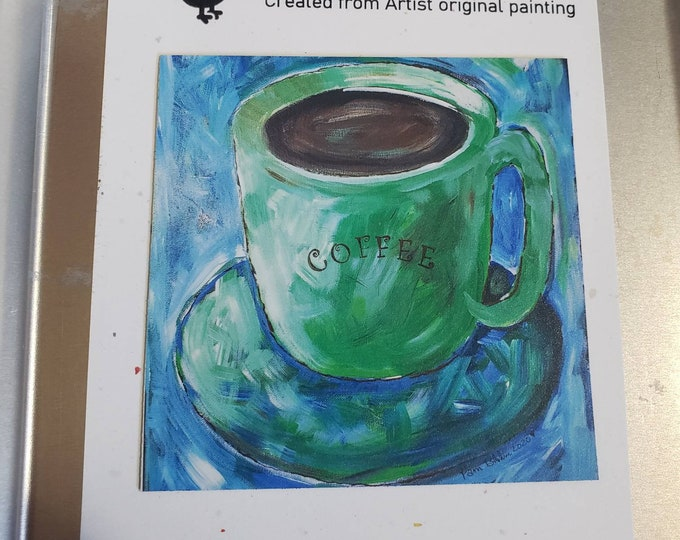 """Art MAGNET """"Coffee"""" small  art / Kitchen and office decor / Coffee lover gift idea / made in USA"""