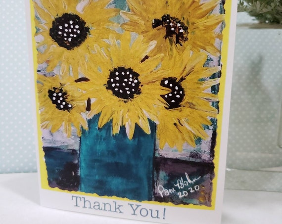 """Blank """"Thank You"""" / Packaged Set of 5 NOTE CARDS / Yellow Sunflowers artist Pam Blohm / 4.25"""" x 5.5"""" with envelopes /printed in the USA/"""
