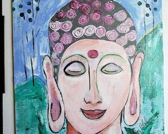 "Abstract Buddha Head ""Meditation"" /8x10 original acrylic painting on Artist  Canvas Panel / Zen art / Buddhist Retreat"