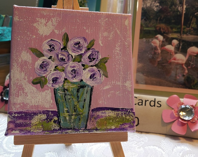 4x4 small art original acrylic painting /Includes displays easel /perfect gift idea /lavender flower art / floral painting/Rose in vase