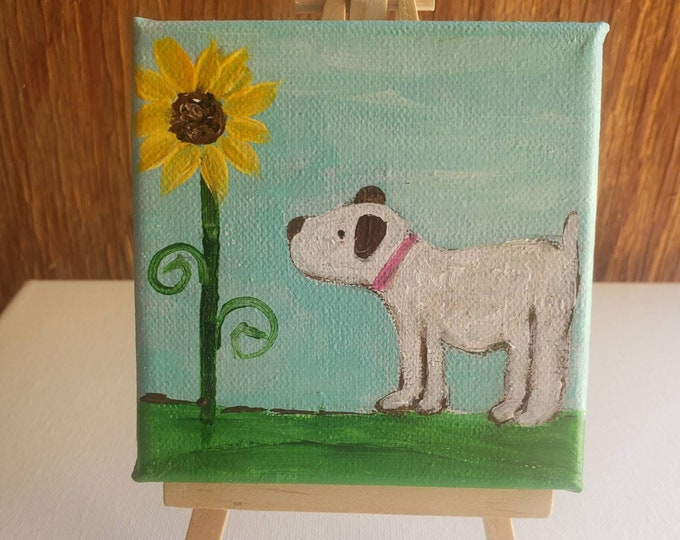 """Dog & Sunflower Original acrylic paintings- """"Time Out"""" 4x4 Small Art Canvas- includes display easel"""