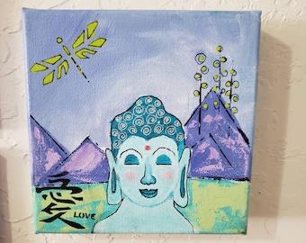 "Abstract ""Boy Buddha""  Original Acrylic Painting / 6x6 Small Art Stretched canvas  / meditation home decor/shelf art / ZEN art"