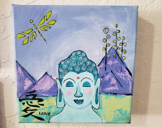 "Abstract ""Boy Buddha""  Original Acrylic Painting - 6x6 Small Art Stretched canvas  - meditation home decor- shelf art - ZEN art"