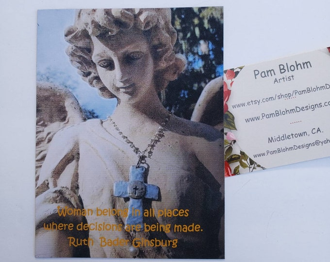 """Angel Magnet """"Ruth Ginsburg"""" quote about woman - Pam Blohm original Angel Photography image"""