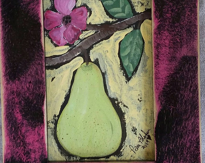 """Framed 5x7 """" Blooming Pear """" / Original Acrylic Abstract  Painting/home decor/kitchen art/pear art/ Fruit decor/ Free shipping"""