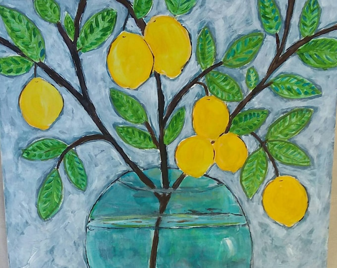 """Original  Design """" The Lemon Branch""""  Abstract Acrylic  Painting on Birch WOOD Canvas.  15""""x15 """" Home Decor"""
