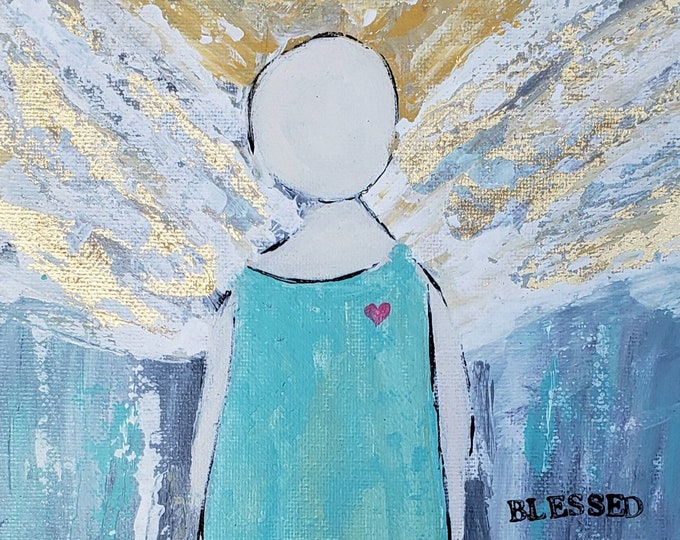 """Blessed Angel Art """"BELIEVE"""" -8x10 Home Decor - Original acrylic painting on flat Canvas PANEL-Guardian Angel gift idea"""