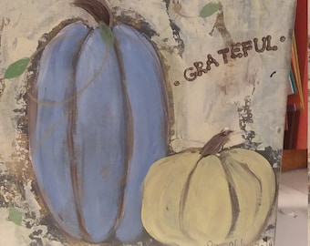 "Pumpkin word art  ""Grateful"" - Fall Decor /6x6 Abstract home art / Blue and Gold Pumpkin Art/"