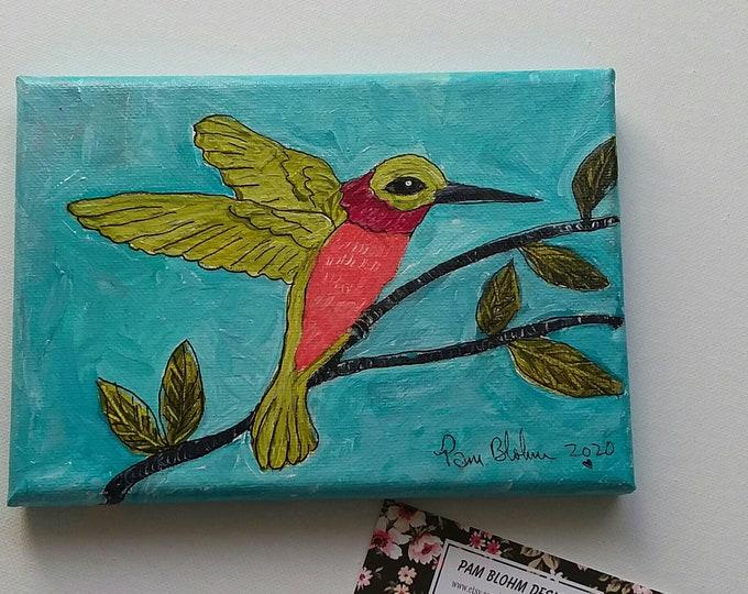 "Sweet Small Art  ""Sitting Humming Bird"" /5x7  Original Acrylic Wall Art / Bird Art/ Gift Idea"