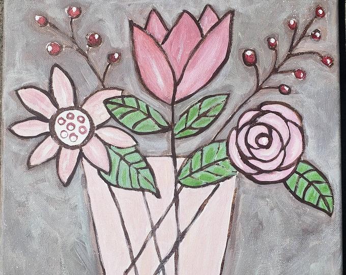 "Original acrylic ""Pretty in Pink"" flower painting -12x12 wall art - home decor artwork"