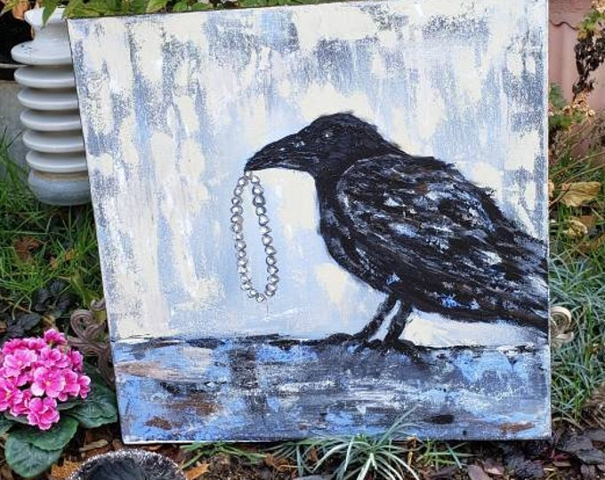 """Raven Original """"The Gift""""  20x20 Large Art Acrylic Painting - Bird with  Pearl bracelet - Office or home decor - Black Bird Portrait"""