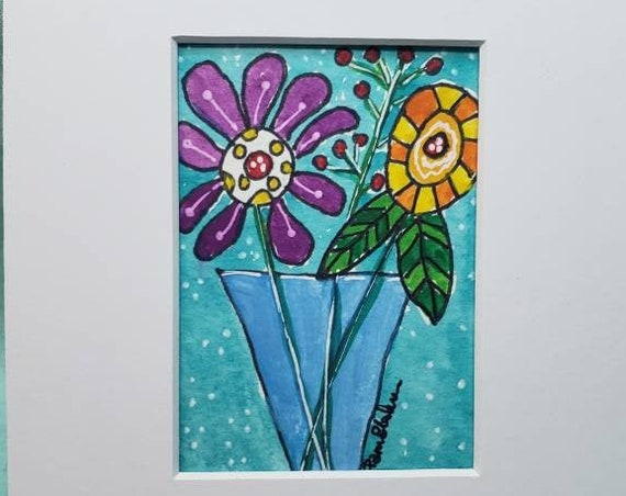 "Watercolor and ink ""Beauty in a Vase"" Whimsical Wildflower art /matted to 5x7"