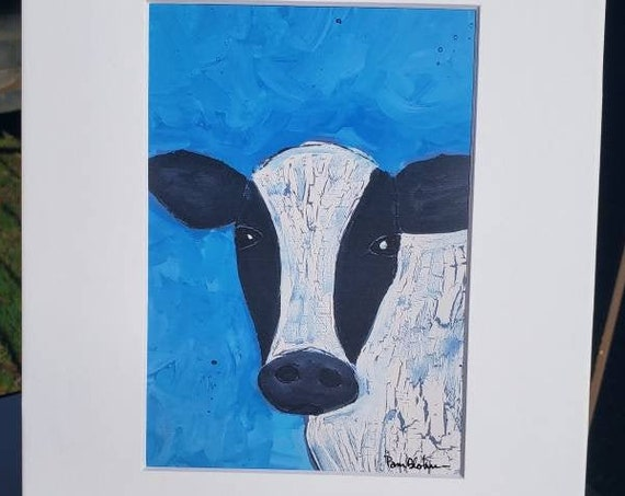 "Artist PRINT ""Joseph, The Crackle Cow "" /white matted to 8x10/Farm animal artwork / Black and White"