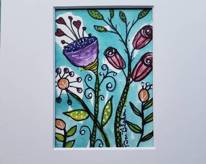 "Whimsical Flowers "" Garden Bloomin"" Original Watercolor and Ink small art painting. Matted to 5x7"