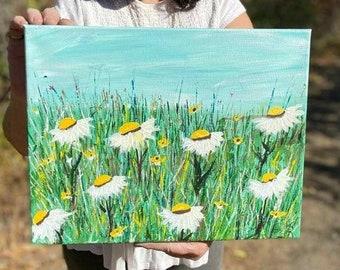 """Original """"Field of Daisies""""  Acrylic Painting /  11x14 Home decor/ wall art/Office art/ Flower art/ Floral art"""