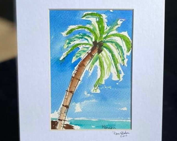 """Original Watercolor & ink """" Island Paradise """" / palm tree Painting / 8x10 matted painting/  Beach art/ tropical painting /ocean art"""