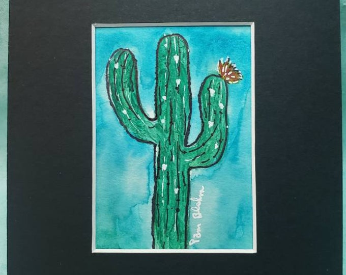 "Watercolor and ink  "" Saguaro  Love"" original cactus painting/small art painting/ Matted to 5x7/ desert plants"