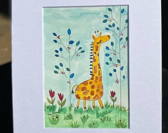 "Giraffe Watercolor  ""Bongo in the blue leaf Jungle"" - Original Painting -  8x10 Matted art -  Nursery art-childroom decor- gift idea"