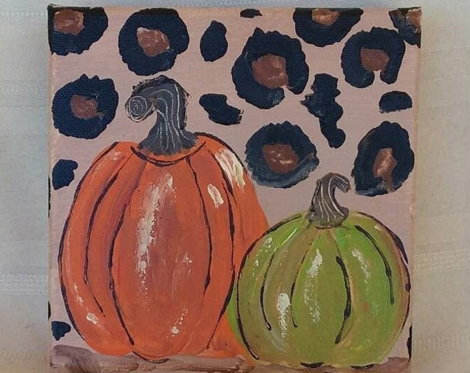 "Abstract ""Wild Art Pumpkins"" / original acrylic 6x6  canvas painting/leapord accent background/ Thanksgiving Decor/ Fall accent"